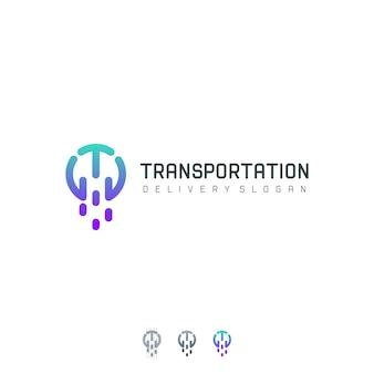 Modèle de logo de technologie de lettre t de transport moderne
