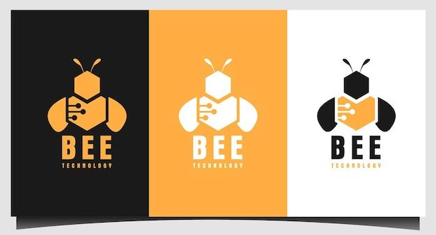 Modèle de logo de technologie moderne d'abeille à miel