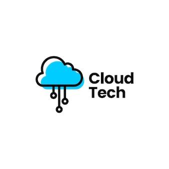 Modèle de logo de technologie numérique cloud