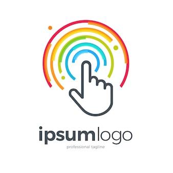 Modèle de logo de technologie tactile