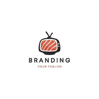 Modèle de logo de télévision japonaise sushi