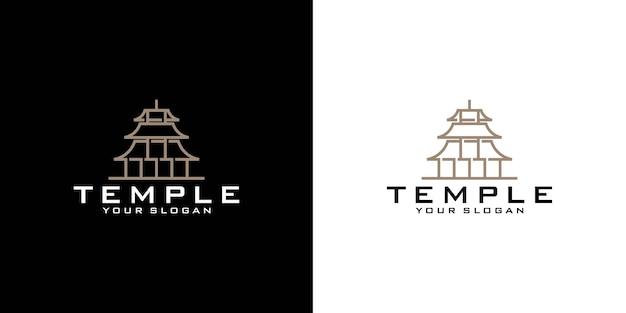 Modèle de logo de temple, style moderne minimal
