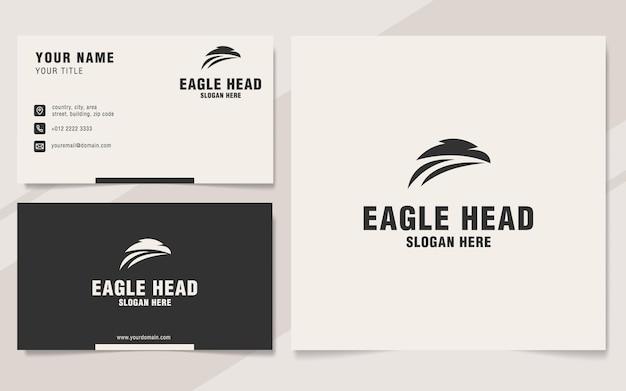 Modèle de logo de tête d'aigle sur le style monogramme