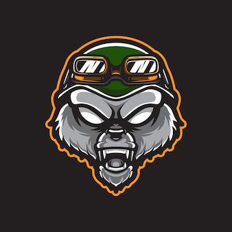 Modèle de logo de tête d'armée grizzly