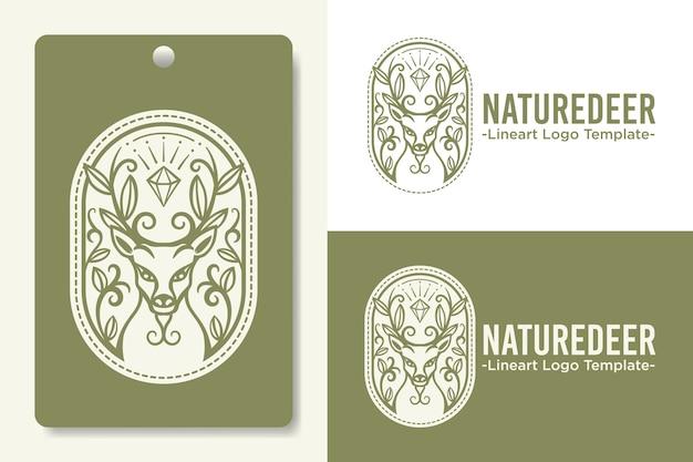 Modèle de logo tête de cerf dessiné à la main avec des diamants et des feuilles