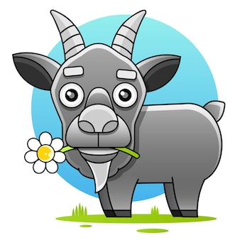 Modèle de logo de tête de chèvre de dessin animé mignon pour la viande et les produits laitiers, illustration de dessin animé