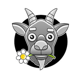 Modèle de logo de tête de chèvre vue latérale pour la viande et les produits laitiers, illustration vectorielle de dessin animé sur fond blanc.