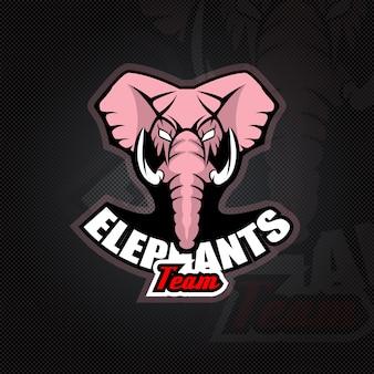 Modèle de logo avec tête d'éléphant.