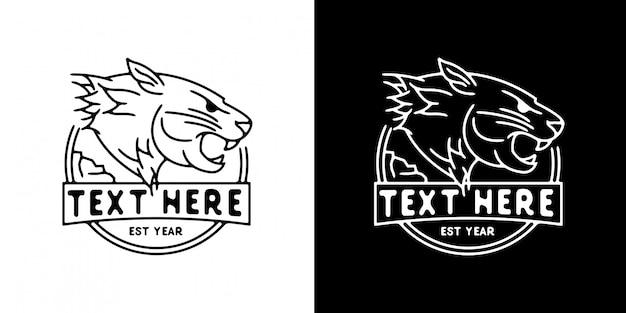 Modèle de logo tête de lion monoline