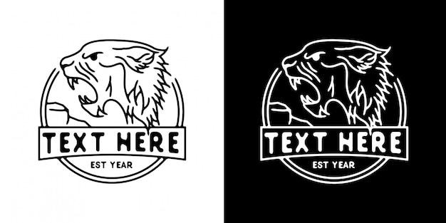 Modèle de logo tête lion monoline