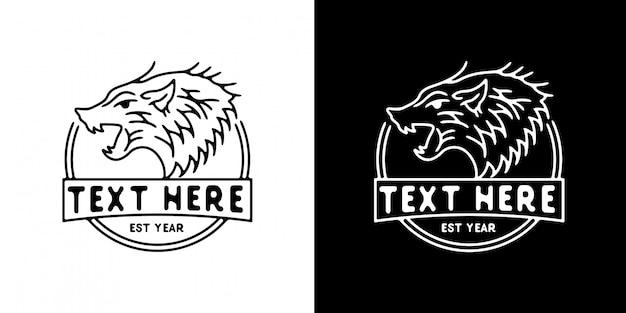 Modèle de logo tête loup monoline