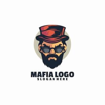 Modèle de logo tête mafia