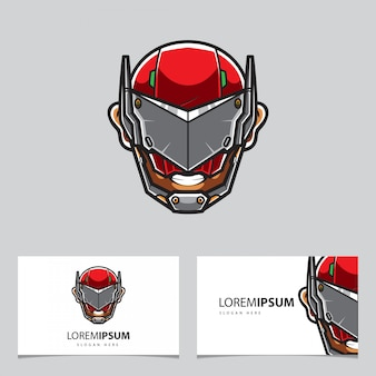 Modèle de logo de tête de robot cyberpunk