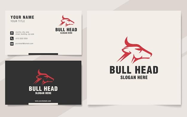 Modèle de logo de tête de taureau sur le style monogramme