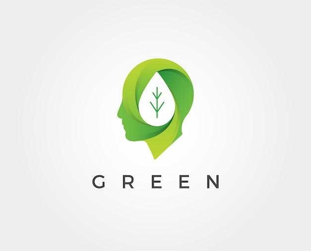 Modèle de logo tête verte minimale