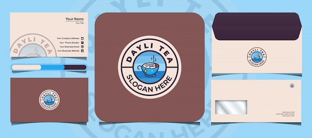Le modèle de logo de thé dayli est livré avec une carte de visite et une conception d'enveloppe