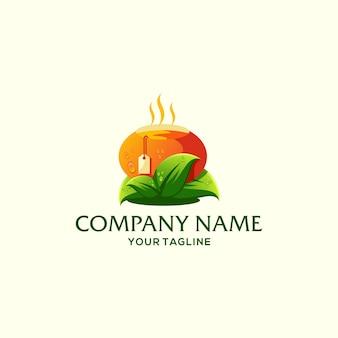 Modèle de logo de thé orange