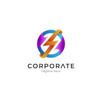 Modèle de logo thunder en forme de cercle avec un style de couleur dégradé