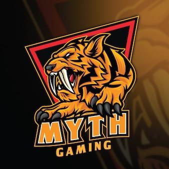 Modèle de logo tiger myth esport
