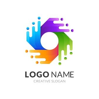 Modèle de logo de tourbillon d'eau avec style coloré 3d