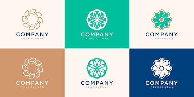 Modèle de logo de tourbillon de fleur de filature.