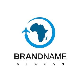 Modèle de logo de tournée et de voyage en afrique