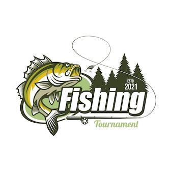Modèle de logo de tournoi de pêche isolé sur blanc