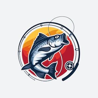 Modèle de logo de tournoi de pêche isolé