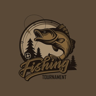 Modèle de logo de tournoi de pêche vintage isolé sur des couleurs intelligentes