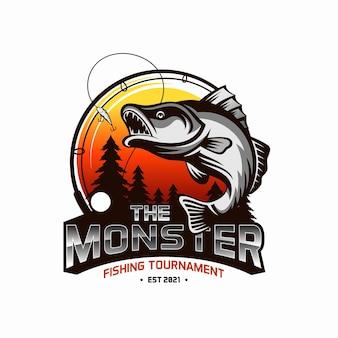 Modèle de logo de tournoi de pêche vintage isolé