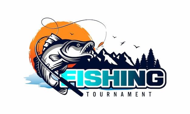 Modèle de logo de tournoi de pêche