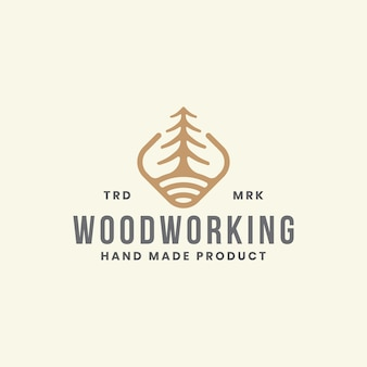Modèle de logo de travail du bois