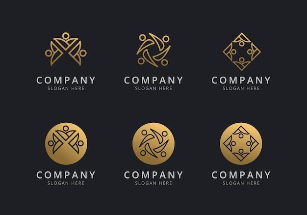 Modèle de logo de travail d'équipe avec style doré