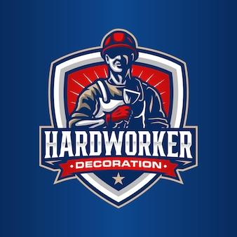 Modèle de logo de travailleur
