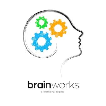 Modèle de logo de travaux de cerveau humain