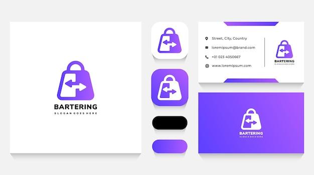 Modèle de logo de troc et de sac à provisions et carte de visite