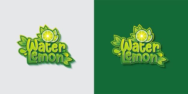Modèle de logo de typographie eau citron