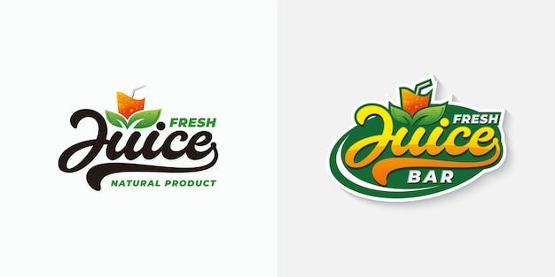 Modèle de logo de typographie de jus de fruits frais