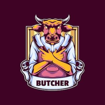 Modèle de logo de vache boucherie