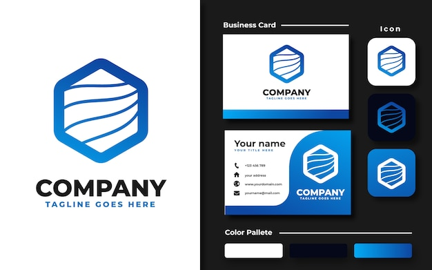 Modèle de logo vague hexagonale bleue et carte de visite