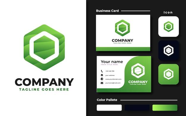 Modèle de logo vague hexagonale et carte de visite