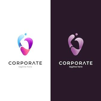 Modèle de logo vague lettre v