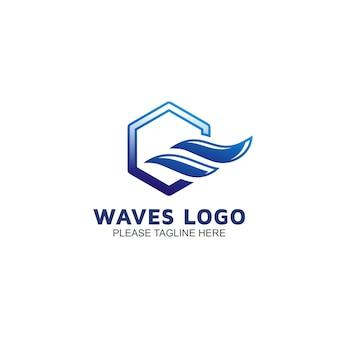 Modèle de logo de vagues
