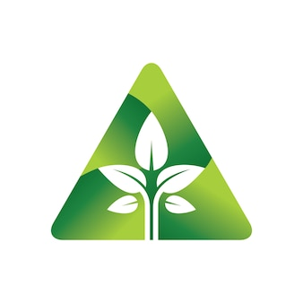 Modèle de logo de vecteur arbre triangle