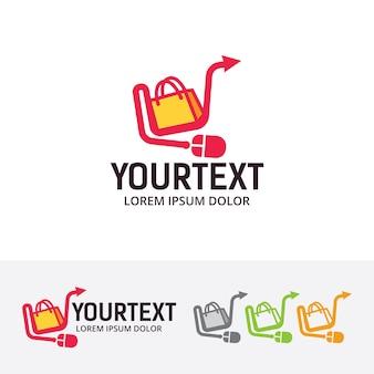 Modèle de logo de vecteur de boutique en ligne