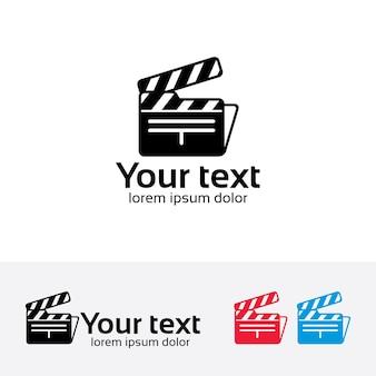 Modèle de logo de vecteur de dossier de film.