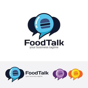Modèle de logo vecteur de nourriture parler