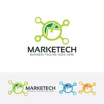 Modèle de logo de vecteur de technologie marketing