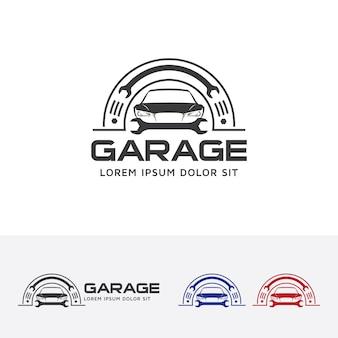 Modèle de logo de vecteur de voiture de garage