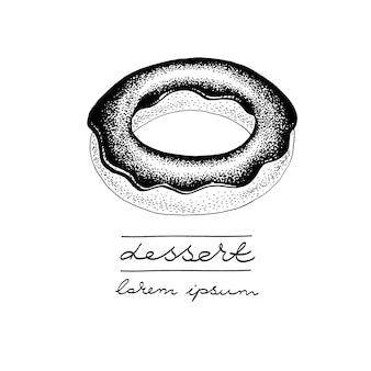 Modèle de logo vectoriel avec beignet glacé